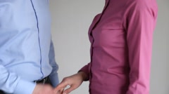 Businesswoman giving money to businessman Stock Footage