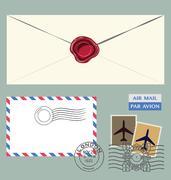 Letter and postal stamps - stock illustration