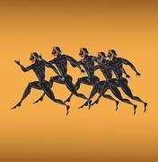 Ancient Greek figures - stock illustration