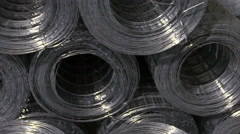 Metal wire fence in industrial workshop. Stock Footage