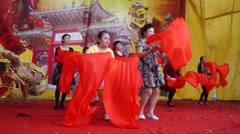 Chinese old women's rehearsal dance in Shenzhen, China - stock footage