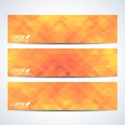 Yellow set of vector banners. Background with blue triangles. Web banners card Piirros