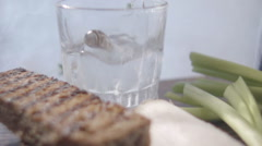 ice-cold Russian vodka and appetizer - stock footage