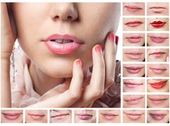 Collage of beautiful sexy lips Stock Photos