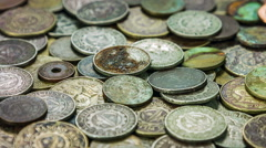 Old different coins  from different periods. Close up rotation. Stock Footage