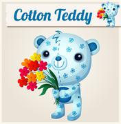 Blue cotton teddy bear. Cartoon vector illustration Stock Illustration