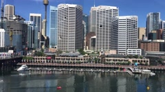 SYDNEY – NOVEMBER 2015: Panoramic view of Darling Harbour. The city attracts 10 - stock footage