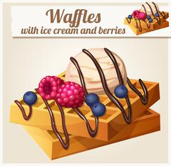 Waffles with ice cream and berries. Detailed Vector Icon - stock illustration