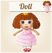Girl doll. Cartoon vector illustration Stock Illustration