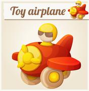 Red toy airplane. Cartoon vector illustration - stock illustration