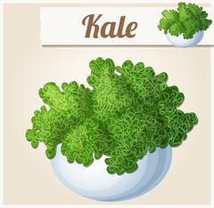 Kale in bowl. Detailed Vector Icon Stock Illustration