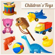 Set of kids toys - stock illustration