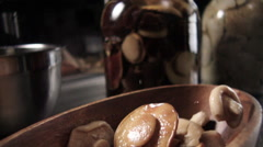 Food marinated mushrooms slow motion - stock footage
