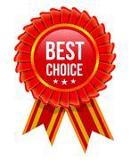 Award rosette with ribbon. Stock Illustration