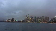Sydney Harbour, rainy night view from Kirribilli Stock Footage