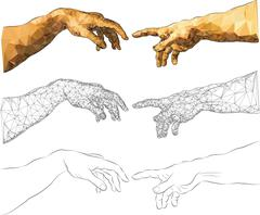 The Creation of Adam - stock illustration
