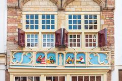 Medieval facade of an old house in the Dutch city of Gouda Stock Photos