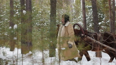Man on a sleigh pulled by a horse Stock Footage
