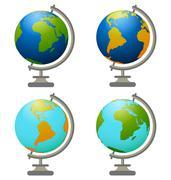 4 School globe - stock illustration
