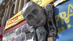 A head of the Putin at an Ukraine support spot in Prague. - stock footage