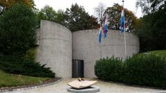 World War II Memorial in Luxembourg City Stock Footage