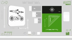 Classic Motorcycle - Construction plan - green 01 Stock Footage