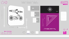 Classic Motorcycle - Construction plan - purple 01 Stock Footage