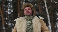 Siberian chopping wood - stock footage