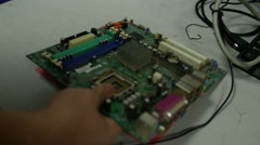 Interior of a modern computer components out for repair Stock Footage