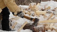 Firewood being split Stock Footage