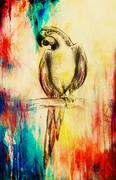 Stock Illustration of pencil deawing parrot on old paper, vintage paper and old structure