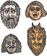 Classical ancient Greek drama masks Stock Illustration