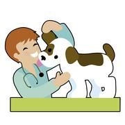 Puppy and Vet - stock illustration
