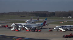 4k Germanwings Airbus A319-132 arrival at airport Hamburg - stock footage
