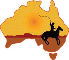 australia horseman - stock illustration