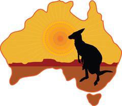 Australia Kangaroo Stock Illustration