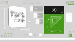 Motorcycle - Construction plan - green 01 Stock Footage