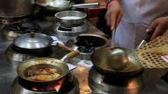 Chinese chefs prepare shark fin soup at restaurant, Chinatown. Bangkok, Thailand Stock Footage