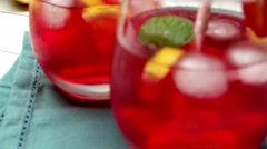 Cold strawberry drink - stock footage