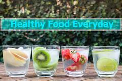 Healthy food everyday quote design poster Stock Photos