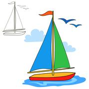 Sailing vessel. Coloring book page - stock illustration
