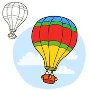 Air balloon. Coloring book page Stock Illustration