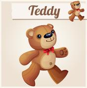 Teddy bear walks. Cartoon vector illustration Stock Illustration