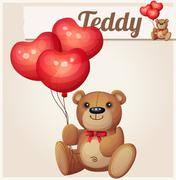 Teddy bear with heart balloons - stock illustration