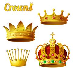 Set 3 of royal gold crowns isolated on white - stock illustration
