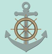 Anchor and ship steering wheel Piirros
