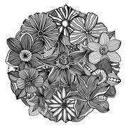 Circle flower ornament Stock Illustration