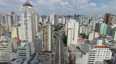 Aerial View of Minhocao Elevado, Sao Paulo, Brazil Stock Footage