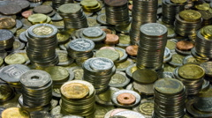 Many different coins collection close up rotation. Stock Footage