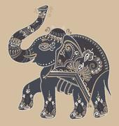 folk art indian elephant, vector dot painting illustration - stock illustration